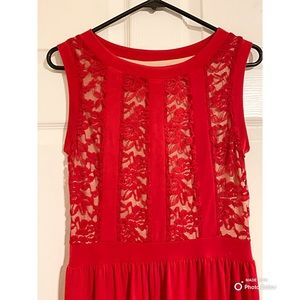 Flower detail red maxi dress